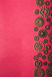Steampunk mechanical cogs gears wheels on red background Stock Photography