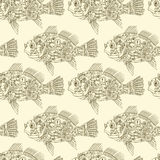 Steampunk mechanical fish seamless vector pattern. Design texture of machinery creature in colors of brown and beige. Steampunk mechanical fish seamless vector Stock Photography