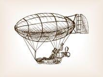 Steampunk mechanical flying airship sketch vector. Steampunk mechanical flying airship sketch style vector illustration. Old engraving imitation stock illustration