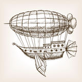 Steampunk mechanical flying airship sketch vector Royalty Free Stock Photography