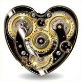 Steampunk mechanical heart. Vector illustration of a mechanical heart in the steampunk style isolated on white stock illustration