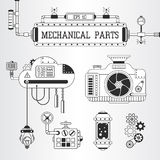 Steampunk mechanical parts vector illustration. Royalty Free Stock Photography