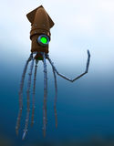 Steampunk Mechanical Squid Under Water Royalty Free Stock Images