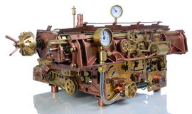 The steampunk mechanism. Steampunk style mechanism. Hand/home made model Typewriter royalty free stock photos