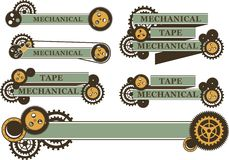 Steampunk mechanism banner. Set of ribbons and banners decorated in the style of steampunk gears on a white background Royalty Free Stock Image