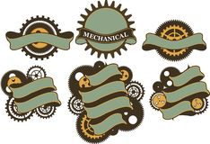 Steampunk mechanism banner Stock Photo