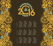 Steampunk mechanism calendar 2016. Poster with the image of a calendar for 2016 in the style of steampunk Stock Photography