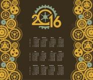 Steampunk mechanism calendar 2016 Stock Photography