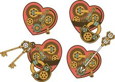 Steampunk mechanism heart Stock Photo