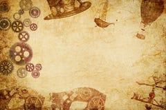 Steampunk meshup纸背景 图库摄影