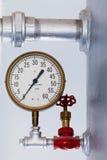Steampunk metalltryckmätare på kokkärlbehållare Royaltyfri Fotografi