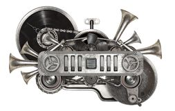Steampunk metalu stary kolaż winylowego rejestru turntable obraz stock