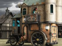 Steampunk mobile bordello. Fantasy two story steampunk mobile home with scantily clad women on step and balcony Royalty Free Stock Images