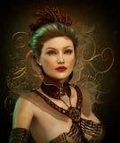 Steampunk modedam 3d CG royaltyfri illustrationer