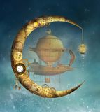 Steampunk moon and a fantasy air balloon stock photography