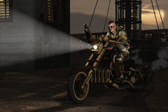 Steampunk motorcyclist Stock Photos