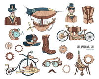 Steampunk objects and mechanism collection: machine, clothing, people and gears. Hand drawn vintage style illustration. Steampunk objects and mechanism Stock Images