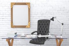 Steampunk obrazka pusta drewniana rama na ściana z cegieł z czarnym le zdjęcia stock