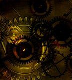 Steampunk old gear mechanism on the background of old vintage pa stock photos