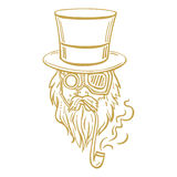 Steampunk old man in top hat and glasses with the beard  Royalty Free Stock Photography