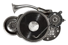 Steampunk old metal collage of vinyl record turntable Stock Images