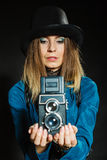 Steampunk with old retro camera. Royalty Free Stock Image