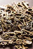 Steampunk old vintage metal keys background Royalty Free Stock Photo