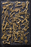 Steampunk old vintage metal keys background Royalty Free Stock Photos