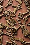Steampunk old vintage metal keys background Stock Images