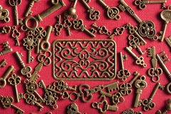 Steampunk old vintage metal keys background Stock Photos