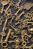 Steampunk old vintage metal keys background Royalty Free Stock Photography