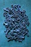 Steampunk old vintage metal keys background Stock Photos