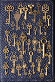Steampunk old vintage metal keys background on leather Royalty Free Stock Photography