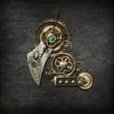 Steampunk op Grijs Stock Foto