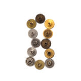 Steampunk ornamentu stylu projekta cogs przekładni machinalna cyfra liczba osiem Starzejący się podławy brązowy złoty metal textu Zdjęcia Stock