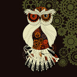 Steampunk outline vector owl with gear. Metallic Stock Image