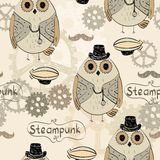 Steampunk owl. Drawn illustration of an owl in style steampunk Royalty Free Stock Image