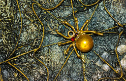 Steampunk panel with the image of the golden spider in a web Stock Photography