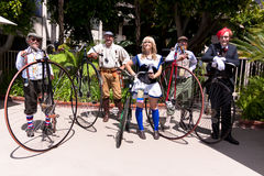 Steampunk Penny Farthing group Royalty Free Stock Photography