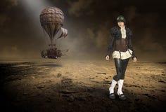 Steampunk pilot, ballong för varm luft, overklig kvinna royaltyfri illustrationer