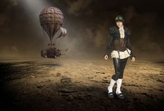 Steampunk Pilot, Hot Air Balloon, Surreal Woman royalty free illustration