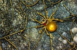 Steampunk-Platte mit dem Bild der goldenen Spinne in einem Netz Stockfotografie