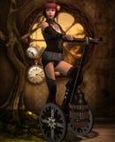 Steampunk pojazd z dziewczyną ilustracja wektor