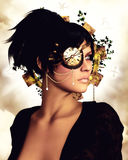 Steampunk Portrait 3D, CG Royalty Free Stock Photo