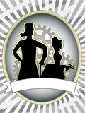 Steampunk product label male woman gears abstract Stock Photos