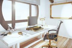 Steampunk projektuje pokój z rocznika maszyna do pisania i pustym drewnianym pi ilustracji