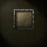 Steampunk-Quadrat auf Metallmasche stockfoto