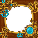 Steampunk-Rahmencollage des Metalls übersetzt im Gekritzel Stockbild