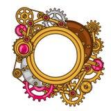 Steampunk ramcollage av metallkugghjul i klotter Arkivfoto
