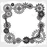 Steampunk ramcollage av metallkugghjul i klotter Royaltyfri Foto